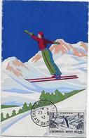 Timbre N° 334 Des Jeux F.I.S. Championnats Du Monde De Ski à Chamonix Sur Carte Peinte Pas Courante - Obl. Tardive - Cartas