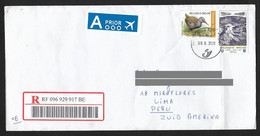 Belgium Registered Cover With Bird & Unesco Stamps Sent To Peru - Cartas