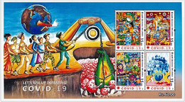 Sri Lanka Stamp Covid-19 GLOBAL PANDEMIC - CORONA 2020 Souvenir Sheet - 2020 - Sri Lanka (Ceylon) (1948-...)