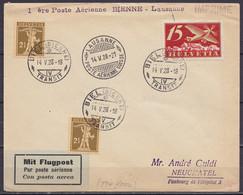 """Suisse - L. Par Avion Affr. 20c Càpt """"BIEL (BIENNE) /14.V.1928/ TRANSIT"""" Pour NEUFCHATEL Via LAUSANNE - Griffe """"1ère Pos - Sonstige Dokumente"""