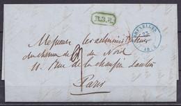 """L. """"Compagnie Du Chemin De Fer Du Nord"""" Càd Bleu BRUXELLES /23 Mars 1846 Pour Administrateurs à PARIS - Griffe Verte [B. - 1830-1849 (Independent Belgium)"""