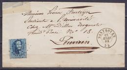 """LSC (sans Contenu) Affr. N°15 Lpts """"330"""" Càd SANTHOVEN /15 MARS 1865 Pour LOUVAIN (au Dos: Cachet """"JUSTICE DE PAIX DU CA - 1863-1864 Médaillons (13/16)"""