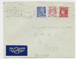 MAZELIN 1FR +CHAINE 40C +10C MERCURE LETTRE FM AVION MEC VALENCE GARE 4.II.1945 POUR TUNISIE TARIF COURT - 1945-47 Cérès De Mazelin