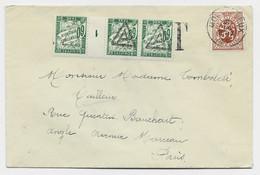 TAXE 60C VERT BANDE DE 3 MILLESIME 1 OBL TRIANGLE PREO DE PARIS A LETTRE COVER BELGIQUE 70C LION 1931 - Lettere Tassate