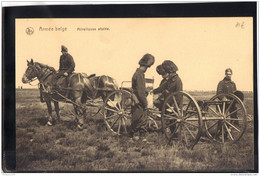 102. MILITARIA . ARMEE BELGE . MITRAILLEUSE ATTELEE . RECTO VERSO . ANIMEE . CHEVAUX - Guerre 1914-18