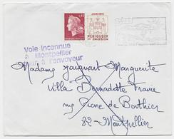 CHEFFER 40C PERIGUEUX LETTRE SETE HERAULT 1970 POUR MONTPELLIER GRIFFE VIOLETTE VOIE INCONNUE A MONTPELLIER RETOUR - 1967-70 Marianne De Cheffer