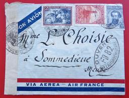Enveloppe Par Avion AIR FRANCE Pour 55 SOMMEDIEUE Ouvert Par L'autorite Militaire Tampons Timbres - Briefe U. Dokumente