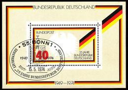 BUNDESREPUBLIK 1974 Block 25 Jahre Bundesrepublik Deutschland ESST BONN ABART - Variétés