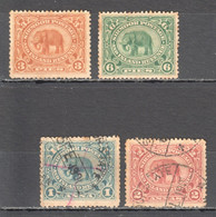 UU484 1894-99 INDIA SIRMOOR SIRMUR GIBBONS #22-25 17£ 4ST LH,USED - Nepal