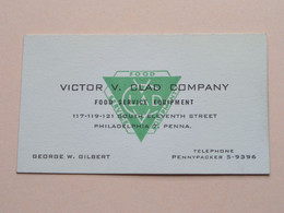 Victor V. CLAD COMPANY Food Service Equipment ( George W. Gilbert ) - ( Philadelphia USA ) - ( See Scan ) ! - Visiting Cards