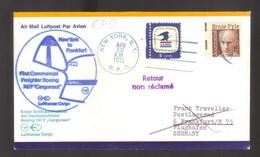 9989- USA, United States, First Flight New York-Frankfurt – Lufthansa – 1972- Air Mail, Airplanes, Flights, Aviation - 3c. 1961-... Cartas