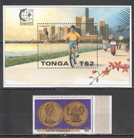 J982 TONGA COOK ISLANDS COINS SINGAPORE 95 ARCHITECTURE BICYCLES 1ST+1BL MNH - Coins