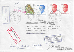 Aangetekende Brief St.Niklaas  12-81988 - Dienstetiketten: Niet Afgehaald-Niet Bestelbaar Aan Huize... Stempel Terug Afz - Postdocumenten