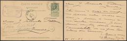"""EP Au Type 5ctm Vert Obl Relais """"Froidmont-Lez-Tournai"""" (1898) > Jumet / Cachet Privé """"Distillerie Centrale"""" (Willemeau- - Postmarks With Stars"""