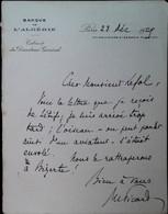G 2 1929 Lettre Entete Banque De L'algérie Raté L'avion... - Lettres & Documents