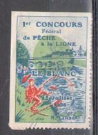 Vignette, 1er Concours Federal De Peche à La Ligne, Le Blanc 1936, Signature: H. Lambert - Tourisme (Vignettes)