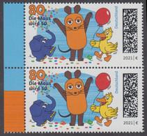 "!a! GERMANY 2021 Mi. 3596 MNH Vert.PAIR W/ Left Margins (b) - 50 Years ""Mouse TV"" - Nuevos"