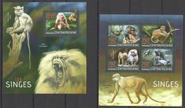 CA697 2013 CENTRAL AFRICA CENTRAFRICAINE FAUNA WILD ANIMALS PRIMATES MONKEYS SINGES KB+BL MNH - Monkeys