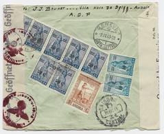 ANGOLA 50CX7+10CX2+5C AU VERSO LETTRE COVER REG 1943 TO SUISSE GENEVE CENSURE NAZI + BRITISH - Angola
