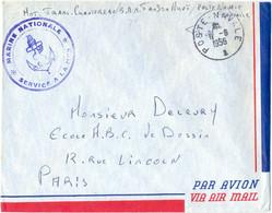 GUERRE D'INDOCHINE POSTE NAVALE TàD 6-6-1956 MOT. TRANS. CHANTEREAU B.A.N. BASE AÉRONAVALE TAN SON NHUT SAIGON - Guerra De Indochina/Vietnam