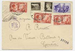 ITALIA 20C HITLER MUSSOLINI X3+50C+ 5C+10C LETTERA COVER NOVARA 1941 TO GENEVE SUISSE CENSURA - Marcophilia