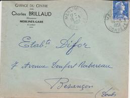 MULLER SUR LETTRE OBLITERATION MANUELLE DE MERLINES GARE CORREZE 1958 - 1921-1960: Modern Tijdperk