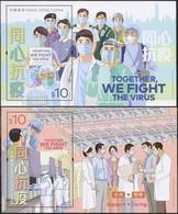 China Hong Kong 2020 Together, We Fight The Virus/COVID-19 2 SS/Block MNH - Nuevos