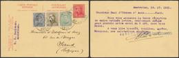 EP Au Type 10ctm Rouge Roi Casqué (réponse) + Affranch. Mixte Expédié De Amsterdam (1921) > Gand / Albert I - Postales [1909-34]