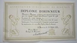 Diplôme D'honneur 1958 - Association Diocésaine De Beauvais - Pierre Marie Lacointe - Diploma & School Reports