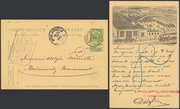 """EP Au Type 5ctm Vert Obl Simple Cercle """"Couvin"""" > Morlanwelz + Repiquage """"La Couvinoise"""" (Fonderie). Superbe ! - Postales [1909-34]"""