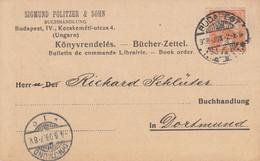 BUCHER - ZETTEL Obl BUDAPEST Du 2.6.1908 Adressée à Dortmund - Covers & Documents