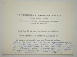 Monseigneur Jacques Patria - Évêque Nommé D'Utina, Auxiliaire De S. Exc Monseigneur Lacointe évêque De Beauvais - Autographs