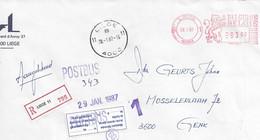 Aangetekende Brief LIEGE11 Cachet : POSTBUS (343)  Etiquette - Maison Fermeé. Avis Remis Dans La Boîte Le .... à ...h - Documents De La Poste