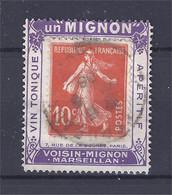 France - Porte-timbres - Pub - Semeuse 10 C Rouge (Yvert 138) / Vin Un Mignon Violet - Advertising