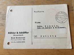 K17 SBZ 1945 Karte Von Seestadt Rostock Nach Putlitz Gebühr Bezahlt - Sovjetzone
