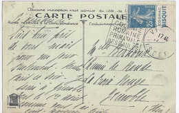 France - Timbres De Carnets - Pub - Semeuse 25 C Bleu (Yvert 140) / Cognac Bisquit, Coin Sur CPA - Pubblicitari