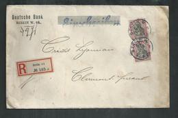 """Allemagne; Lettre """"einschreiben"""" De La Deutsche Bank à Berlin Pour Clermond Ferrand - Covers & Documents"""