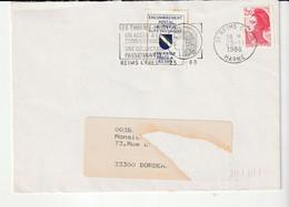 """Lettre Reims 1988 Avec Vignette De Grève """"Encombrement Postal à Paris/suite Des Grèves/courrier Posté à Reims"""" - Grève"""