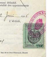 1926 Vignette Féd Nale Du Spectacle / Sur Contrat Engagement Orchestre Casino Dinard 35 / Emploi 1er Violon - Other
