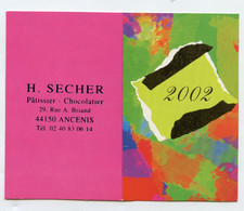 CALENDRIER DE POCHE 2002 - H. SECHER - ANCENIS 44 - PATISSIER CHOCOLATIER - Klein Formaat: 2001-...