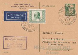DDR Entier Postal Par Avion Leipzig 1952 - Cartas