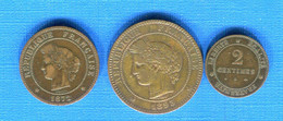 France  3  Pieces  2 Cents   + 5  Cents +  10  Cents - Unclassified