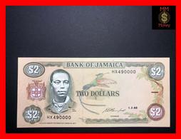"JAMAICA 2 $  1.2.1993 P. 69 E  ""fancy Serial  HX 490000""  UNC - Jamaica"