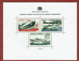 Espanha Bloc Sheet MNG Spain CORREO SUBMARINO.1938 Yv# 11 - Blocs & Hojas