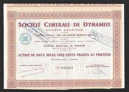 Action.   Sté Centrale De Dynamite.   Paris.    Share. - Mineral