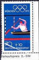 BRD FGR RFA - Olympiade München Kanuslalom (MiNr: 737) 1972 - Postfrisch MNH  BLOCKMARKE - Nuevos