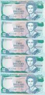 BERMUDA 2 DOLLARS 1997 P-40 LOT X5 UNC NOTES  */* - Bermudas