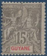 France Colonies Guyane N° 45* 15c Gris Tres Frais TTB - Neufs