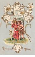 Pâques - N°63663 - Joyeuses Pâques - Anges Avec Un Mouton - Carte Gaufrée - Easter