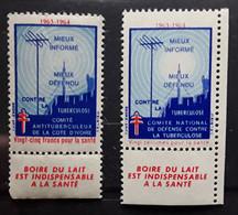 2 Vignettes ANTITUBERCULEUX 1963 - 1964 Vingt Cinq Francs COTE D'IVOIRE / Vingt Centimes BOIRE DU LAIT Neuves ** MNH TB - Antituberculeux